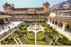 beautiful gardens in amer fort, jaipur, india - stock photo