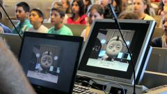 Students learning about robots at the school - stock footage