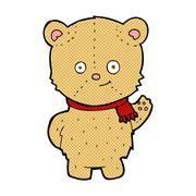 Stock Illustration of comic cartoon waving teddy bear