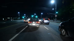 Driving Plates Night S02C02 CAM1 Front View 02 Los Angeles Fairfax and Venice Stock Footage