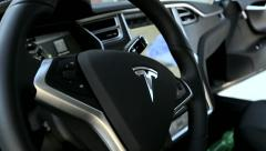 Interior and display of futuristic electric car - stock footage