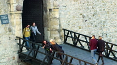 Visitors at the entrance to the fortress museum Stock Footage