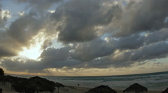 Stormy sky in tropical beach Stock Footage