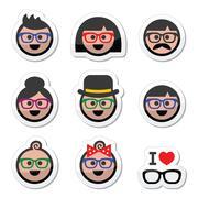 People wearing glasses, geek labels set Stock Illustration