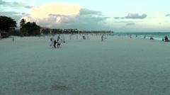 Mexico Quintana Roo Caribbean Sea Playa Del Carmen 006 wide beach in the dusk Stock Footage