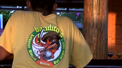 Belize Central America the Caribbean Sea 025 back of a pirates t-shirt Stock Footage