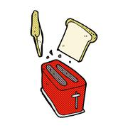 Stock Illustration of comic cartoon toaster spitting out bread