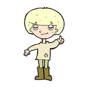 Comic cartoon boy in poor clothing giving thumbs up symbol Stock Illustration