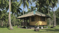 Bamboo hut in the jungle on a white beach Stock Footage