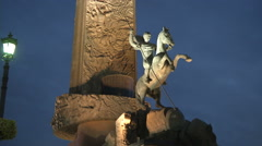 RUSSIA  MOSCOW statue-solder on the horse Stock Footage
