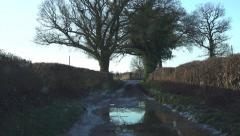 Driving POV Shot Dirt Track Winter English Countryside Stock Footage