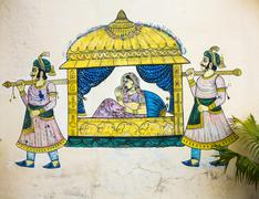 Stock Photo of wall painting in udaipur at a local house