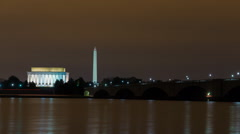 Time lapse of sunrise on Washington, DC monuments - stock footage