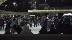 Ice skating at night Stock Footage