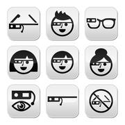 Google glass vector buttons set Piirros