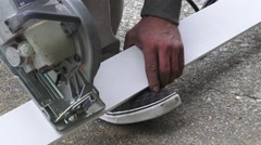Garage door replacement, sawing trim Stock Footage