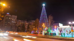 Christmas tree in theatre square in krasnoyarsk, time lapse Stock Footage