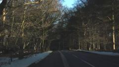 Driving POV Shot English Forest Winter Countryside Stock Footage