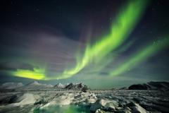 Arctic magical landscape - Northern Lights - stock photo