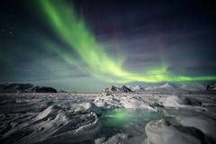 Arctic magical landscape - Northern Lights Stock Photos
