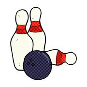 ten pin bowling comic cartoon - stock illustration