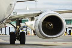 Hot air behind the aircraft engine - selective focus Stock Photos