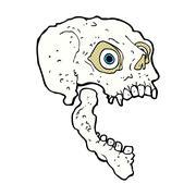 Stock Illustration of comic cartoon scary skull