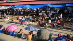 Market in a village Vietnam - stock footage
