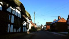 Driving POV Shot English Country Village Stock Footage