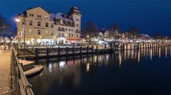 Rostock Warnemuende panning Time lapse at night Stock Footage