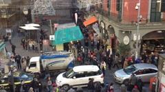 People walking in Tribunali Street in Naples- Italy Stock Footage