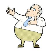 Stock Illustration of comic cartoon exasperated middle aged man
