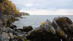 Baikal autumn shore Stock Footage