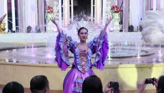 The cabaret singing and dancing show infront of  tourist at the Mimosa, Pattaya - stock footage
