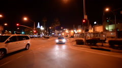 Driving Plates Night S06C02 CAM2 Back View Downtown 60sec - stock footage