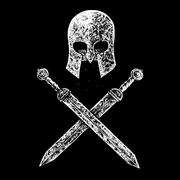 gladiator helmet and swords - stock illustration