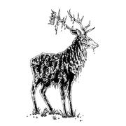 Stock Illustration of stag with crown