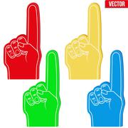 Set of Sports Fans holding Foam Fingers Stock Illustration