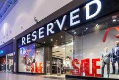 showcase of reserved store in family shopping centre mega - stock photo