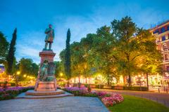 Esplanade Park. Statue Of Johan Ludvig Runeberg in Helsinki, Fin Stock Photos