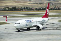 Turkish Airlines aircraft parked in Esenboga Airport Stock Photos