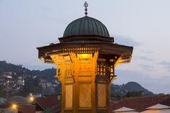 silhouette of Sebil - the old fountain of Sarajevo - stock photo