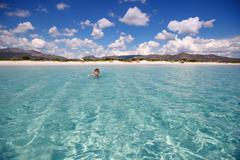 Panorama of idyllic beach with turquoise water Stock Photos