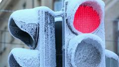 Traffic light covered with frost on a frosty winter day. Stock Footage