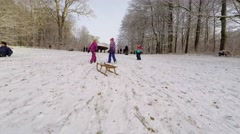 The kids are pulling their sledges up hill while having fun Stock Footage