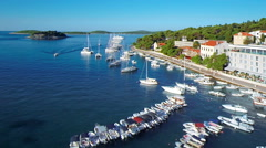 Hvar harbour from aerial drone overhead 24 - stock footage