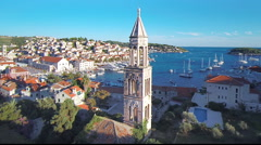 Croatia church from aerial drone overhead 21 - stock footage