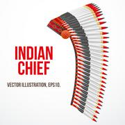Indian chief hat with plumage. Side view. Vector - stock illustration