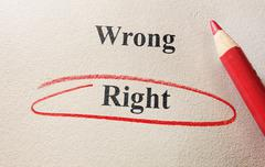 wrong and right - stock photo