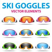Set of Classic snowboard ski goggles with colorful glass. Piirros